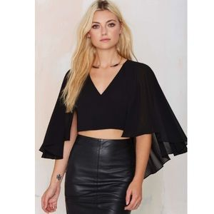 NWT Nasty Gal To the Sky Black Sheer Cape Crop Top